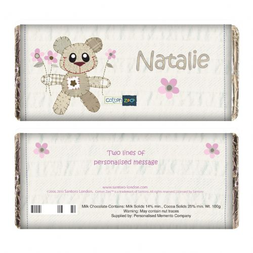 Personalised Cotton Zoo Girls Tweed the Bear Chocolate Bar